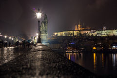 Prague Castle from Charles Bridge. Night scenery on dominant of Prague Stock Photography