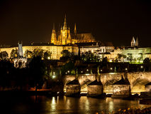 Prague Castle and Charles Bridge at night Royalty Free Stock Photo