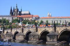 Prague Castle & Charles Bridge in Prague. Prague Castle (Pražský hrad) is a castle in Prague where the Czech kings, Holy Roman Emperors and presidents of Royalty Free Stock Photo