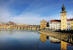 Prague castle and Charles Bridge in Prague Stock Photo