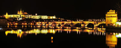 Prague castle and Charles Bridge in Prague Stock Images