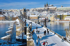 Prague castle and Charles bridge, Prague (UNESCO), Czech republi Royalty Free Stock Photo