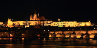 Prague Castle and Charles Bridge Stock Photography