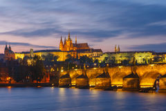 Prague Castle and Charles Bridge at sundown, Czech Republic Royalty Free Stock Photos