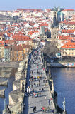 Prague Castle and Charles Bridge Stock Photography