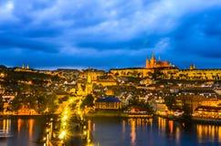 Prague Castle, Charles Bridge and Vltava Royalty Free Stock Photo