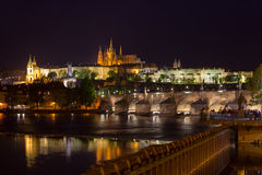 Prague castle and Charles bridge Stock Photos