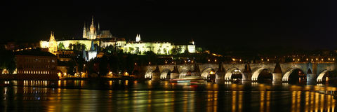 Prague Castle, Charles Bridge and Vltava river Stock Photos