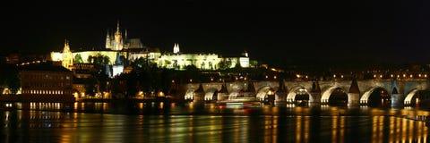 Prague Castle, Charles Bridge and Vltava river. Night panorama of Prague, Czech Republic. Prague Castle, Charles Bridge and Vltava river Stock Photos