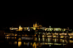 Prague Castle, Charles Bridge and Vltava River Royalty Free Stock Photography