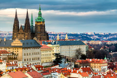 Prague Castle complex with gothic St Vitus Cathedral, Hradcany,. Prague, Czech Republic. UNESCO World Heritage. Panoramic aerial shot from Petrin Hill royalty free stock photography