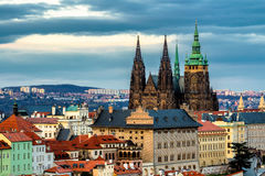 Prague Castle complex with gothic St Vitus Cathedral, Hradcany, Stock Image
