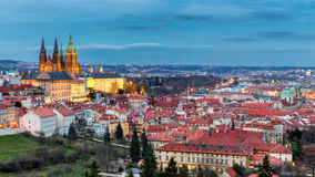 Prague Castle complex with gothic St Vitus Cathedral, Hradcany,. Prague, Czech Republic. UNESCO World Heritage. Panoramic aerial shot from Petrin Hill stock photos
