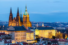 Prague Castle complex with gothic St Vitus Cathedral, Hradcany, Stock Photography