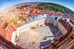 Prague Castle courtyard. Elevated view from St. Vitus cathedral. Royalty Free Stock Photography
