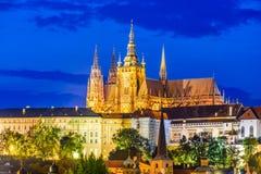 Prague Castle, Czech Republic. Prague, Czech Republic. Hradcany (Prague Castle) with St. Vitus Cathedral and St. George church evening dusk, Bohemia landmark in Stock Images