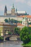 Prague Castle, Czech Republic. View of Prague Castle, Vltava river and bridge Royalty Free Stock Photography