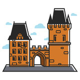 Prague castle Czech travel tourist attractions and famous culture landmark vector icon Royalty Free Stock Photography