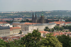 Prague castle district. A view of the Prague castle district from the Petrin Hill featuring the St. Vitus church Royalty Free Stock Photography