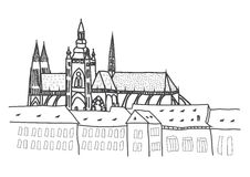 Prague castle drawing Stock Images