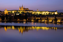 Prague Castle at Dusk Royalty Free Stock Images