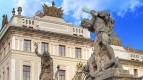 Prague Castle. Entrance Gate of the Prague Castle, Czech Republic stock footage