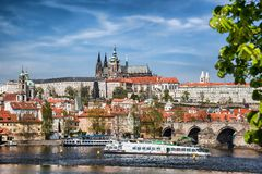 Prague Castle with famous Charles Bridge in Czech Republic Stock Image