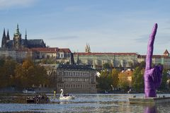 Prague Castle and finger up Stock Photography