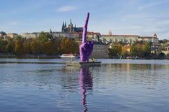 Prague Castle and finger up Stock Photos