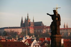 Prague Castle From Charles Bridge Royalty Free Stock Images