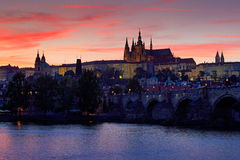 The Prague Castle, gothic style, largest ancient castle in the world and Charles Bridge, built in medieval times, moving boats, Tw. The Prague Castle, gothic Stock Photo