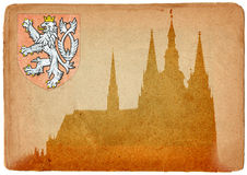 Prague castle in grunge style Royalty Free Stock Photos