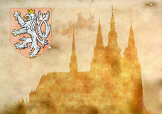 Prague castle in grunge style Stock Images