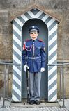 A Prague Castle Guard on duty outside one of the main gateways of the historic Prague Castle, Prague, Czech Republic. Prague, Czech Republic - October 12, 2017 Royalty Free Stock Photography