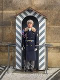 Prague castle guard man. Prague, Czech Republic, 4th Dec 2017: Prague castle guard soldier with winter uniform Royalty Free Stock Photos