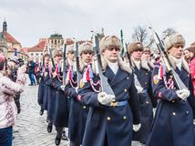 Prague Castle Guard soldiers marching to the entrance of the Pr. Ague Castle. Czech Republic royalty free stock photos