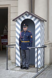 The Prague Castle Guard in winter uniform. Royalty Free Stock Photo
