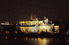 Prague castle. Illuminated by the Prague Castle at night Royalty Free Stock Image