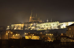 Prague castle landmark by night Royalty Free Stock Photos