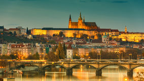 Prague Castle in lights, panoramic view from Vysehrad royalty free stock image