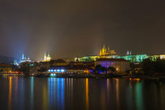 Prague Castle and the Little Quarter at night, Czech Republic Stock Images