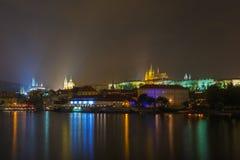 Prague Castle and the Little Quarter at night, Czech Republic Stock Images