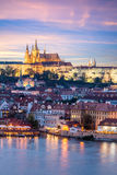 Prague Castle and Mala Strana district across Vltava river Royalty Free Stock Images