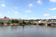 Prague Castle and Manes Bridge in Prague Stock Photo
