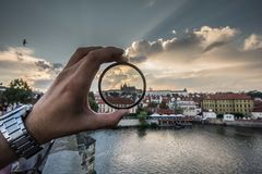 Prague castle in my hand royalty free stock images