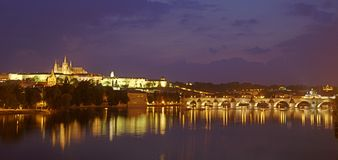 Prague castle at night. Prague castle and churches at night Royalty Free Stock Image