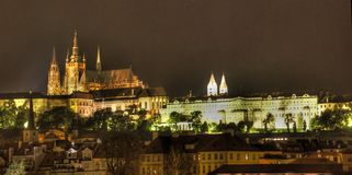 Prague castle at night. Mysterious scene in old prague city Stock Photos