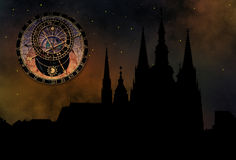 Prague castle at night. Prague casle - Cathedral of St Vitus - monuments of mysterious city Stock Image
