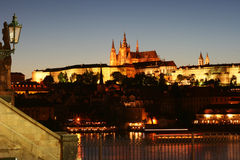 Prague Castle at Night. Prague castle and the side of Charles Bridge at night royalty free stock photo