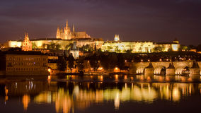 Prague castle at night. Castle and Charles Bridge by night in Prague, Czech Republic Royalty Free Stock Photography